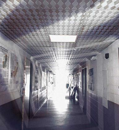 white-cinderblock-hallway