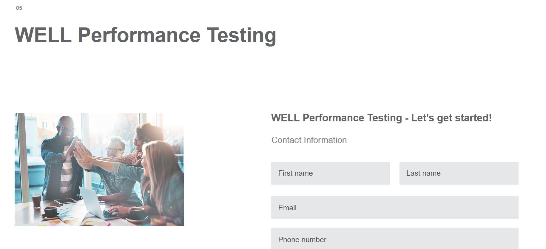WELL Peformance Testing Form_Screen Shot